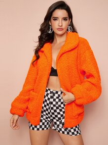 Neon Orange Zip Up Teddy Coat