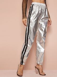 Striped Side Elastic Waist Metallic Sweatpants
