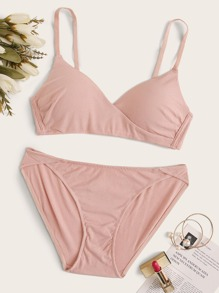 Rib Solid Lingerie Set