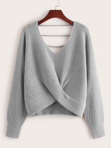 V-neck Twist Front Sweater