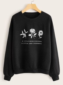 Floral Print Slogan Graphic Sweatshirt
