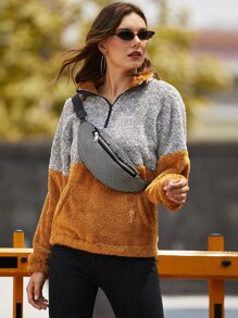 Half Zip Two Tone Teddy Sweatshirt