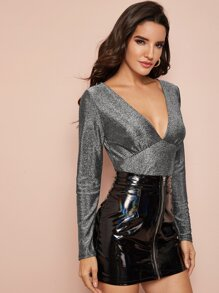 Deep V-neck Sparkle Fitted Tee