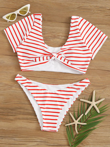 Striped Random Print Knot Front Short Sleeve 2piece Swim