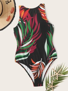 Tropical Random Print Low Back One Piece Swimwear