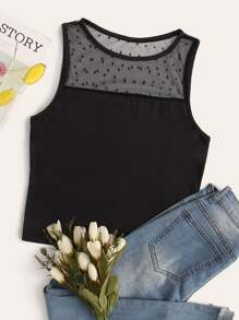 Contrast Dobby Mesh Tank Top