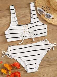 Striped Textured Lace Up Front Bikini Set