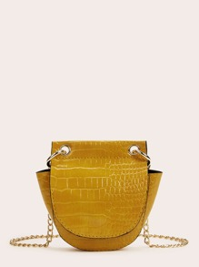 Mini Croc Embossed Chain Crossbody Bag