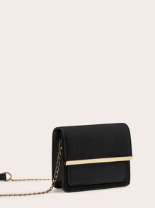 Suede Panel Flap Chain Crossbody Bag