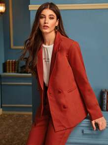 Lapel Neck Double Breasted Blazer