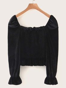 Velvet Square Neck Shirred Frill Trim Blouse