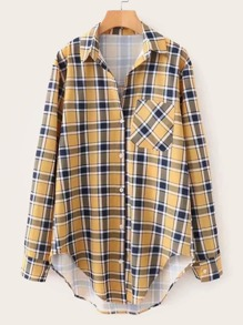 Patched Pocket High Low Plaid Blouse