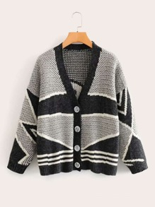 Contrast Panel Graphic Button Front Cardigan