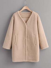 V Neck Slant Pocket Teddy Coat