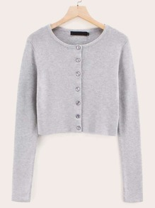 Button Front Solid Crop Cardigan