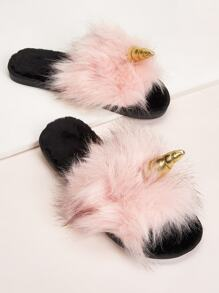Unicorn Design Faux Fur Decor Slippers