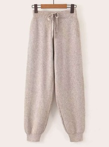 Ribbed Knit Drawstring Carrot Sweater Pants