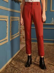 Solid Zipper Fly Tailored Pants