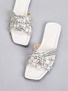Open Toe Croc Graphic Flat Sliders