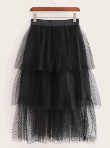 Dobby Mesh Overlay Tiered Layer Skirt