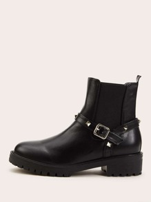 Studded Decor Buckle Strap Jodhpur Boots