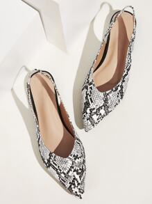 Point Toe Snakeskin Slingback Flats