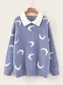 Contrast Collar Moon Pattern Sweater