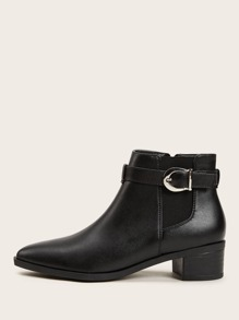 Side Zip Buckle Strap Jodhpur Boots