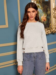 Solid Button Drop Shoulder Sweatshirt