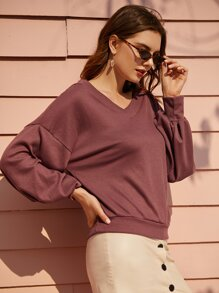 V Neck Bishop Sleeve Sweatshirt