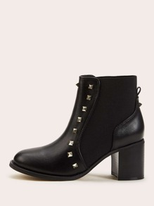 Studded Decor Chunky Heeled Chelsea Boots