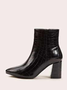 Point Toe Croc Embossed Chunky Western Boots