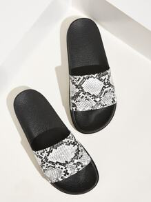 Open Toe Snakeskin Wide Fit Sliders