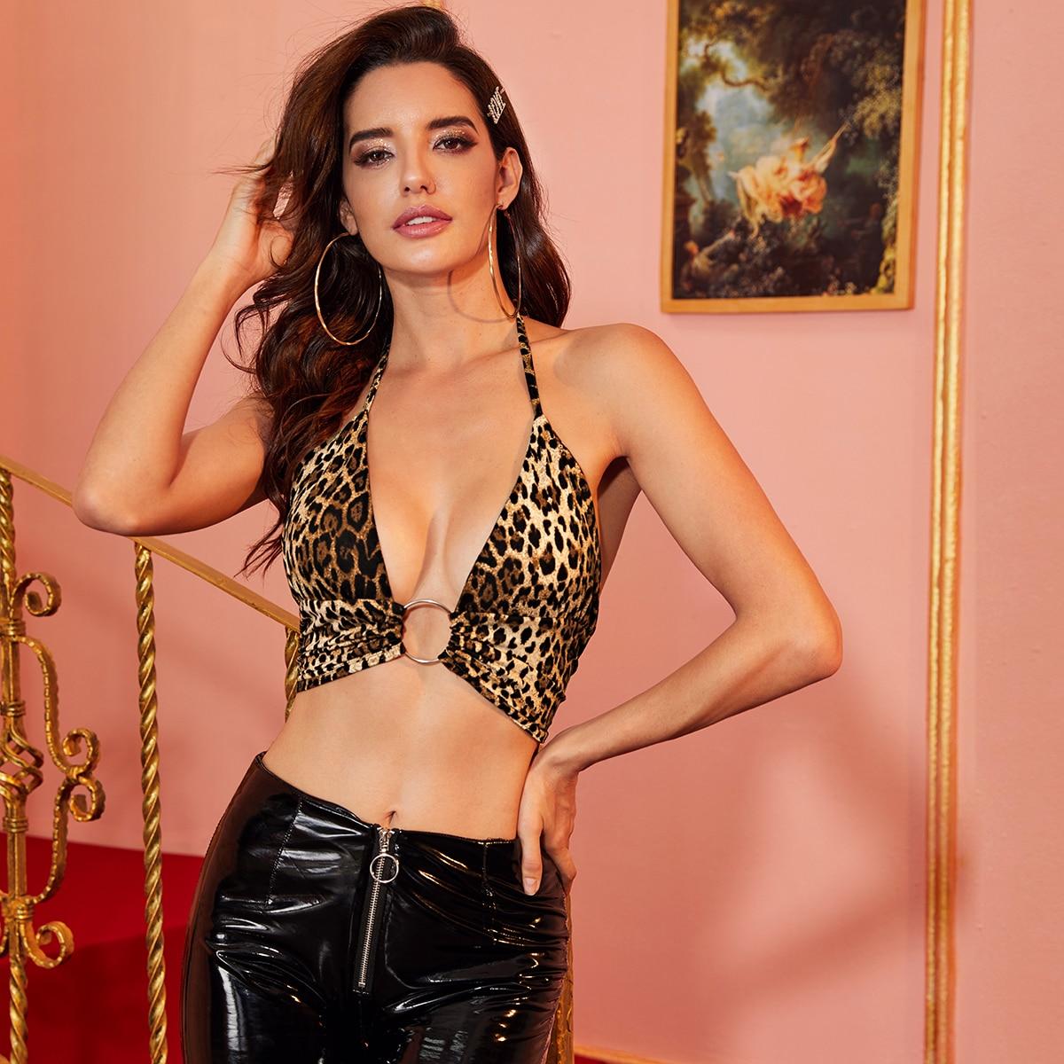 Топ-халтер с леопардовым принтом