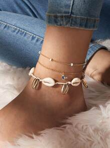 3pcs Shell & Rhinestone Decor Chain Anklet