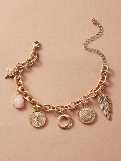 1pc Coin & Moon Charm Chain Bracelet