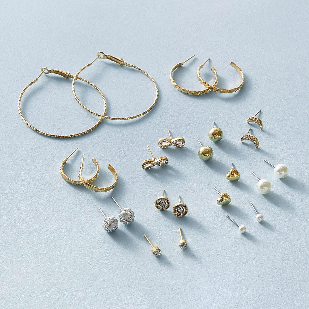 12pairs Faux Pearl & Heart Decor Earrings