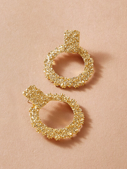 1pair Textured Hoop Drop Earrings