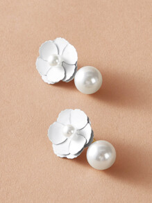 1pair Flower Decor Faux Pearl Stud Earrings