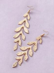 1pair Leaf Long Strip Drop Earrings