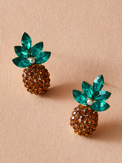 1pair Rhinestone Engraved Pineapple Stud Earrings
