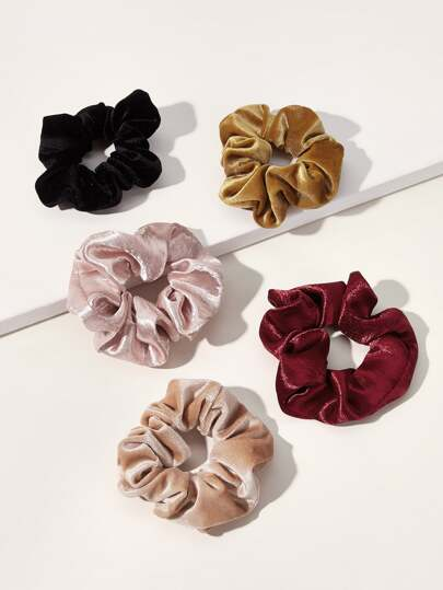 5pcs Simple Velvet Scrunchies