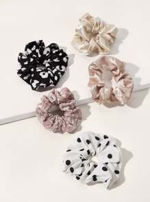 5pcs Polka Dot Pattern Scrunchies