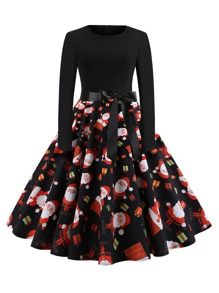 Plus Santa Claus Print Belted Ball Gown Dress