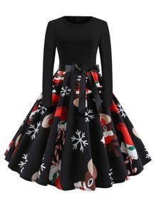 plus christmas print belted ball gown dress