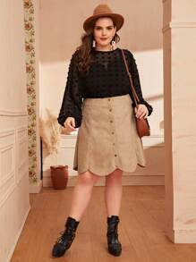 Plus Scallop Trim Button Detail Suede Skirt