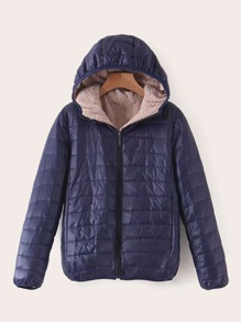 Sherpa Lined Hooded Puffer Jacket
