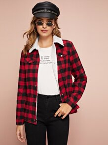 Pocket Front Sherpa Lined Gingham Coat