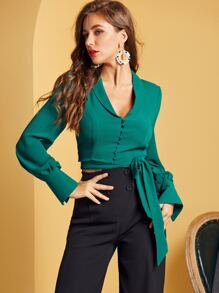 SBetro Button Front Knotted Crop Blouse