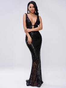 Missord Plunge Neck Tie Back Sequin Bodycon Prom Dress